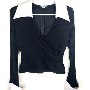 Caché Black & White Dress Shirt/Blouse